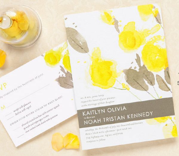 Gray yellow wedding invitations pretty yellow gray wedding invitations