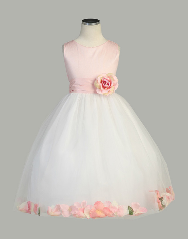 White And Pink Flower Girl Dresses 16