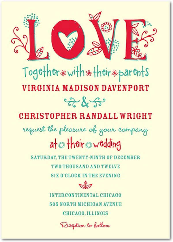 Red Teal Typography Wedding Invitations