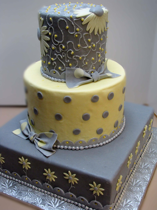 yellow and gray cake yellow wedding cakes