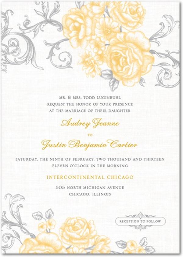 yellow wedding invitations - bitsy bride, Wedding invitations