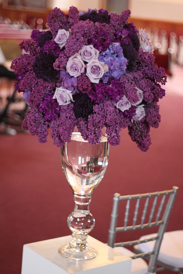Purple floral centerpieces bitsy bride