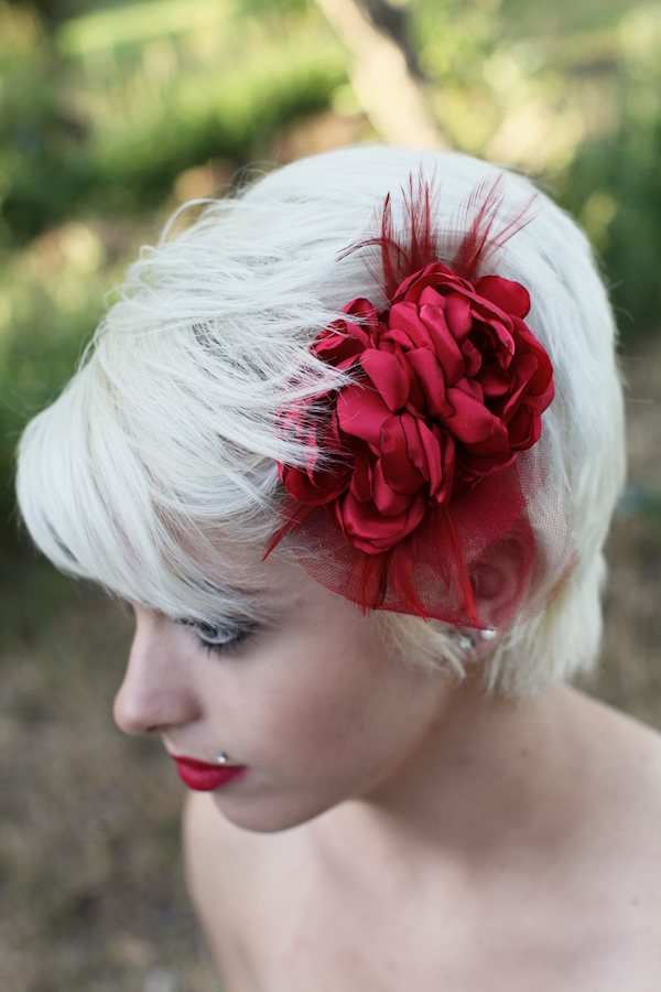 Champagne Bridal Flower Hair Accessory Red Rose