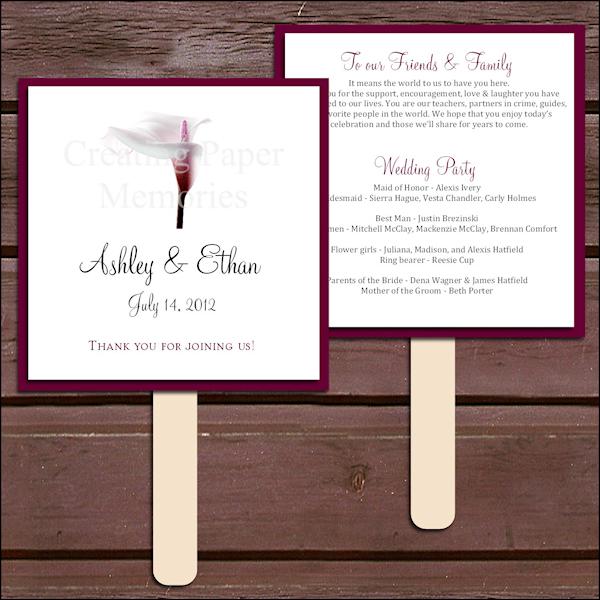 Burgundy Wedding Programs Bitsy Bride