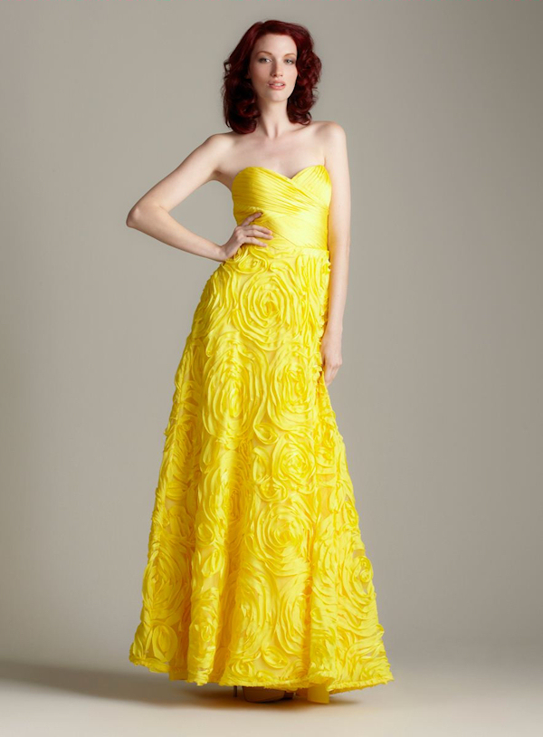 Long Yellow Strapless Bridesmaid DressYellow Strapless Bridesmaid Dresses