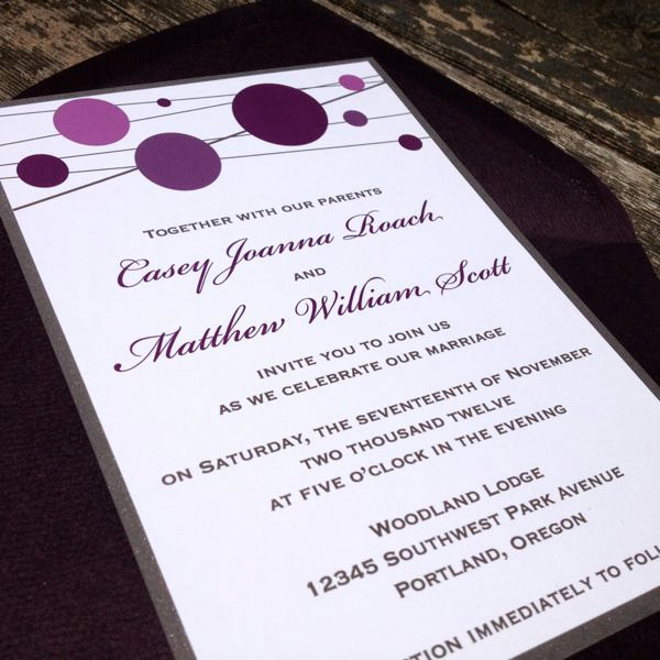 purple wedding invitations  bitsy bride, invitation samples