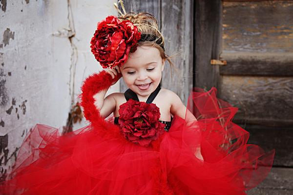 Red Flower Girl Tutu Dress