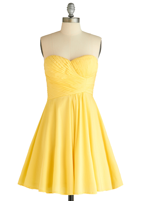 Yellow Strapless Cocktail Dresses 92