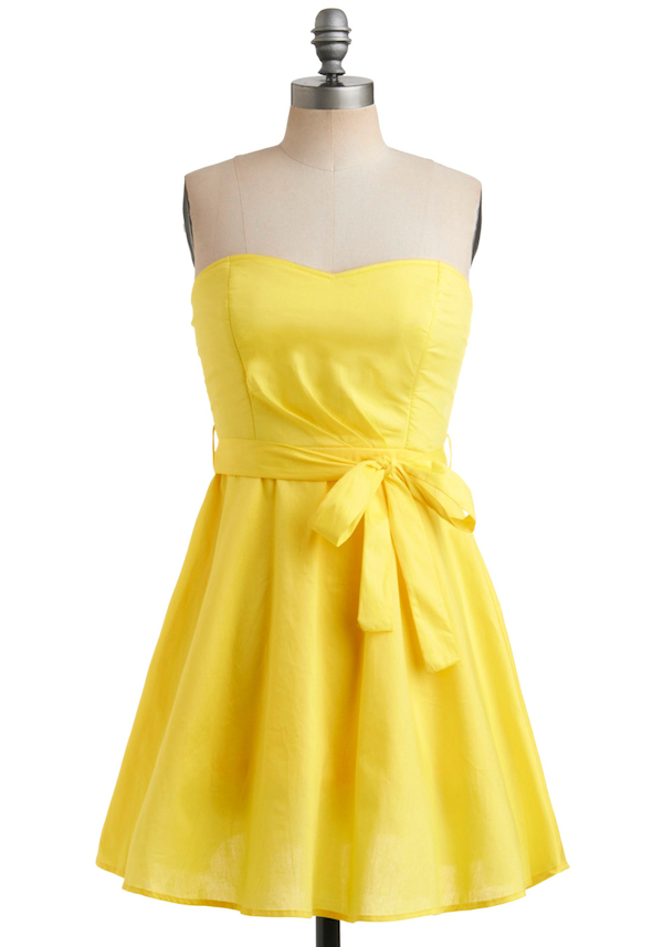 Yellow Strapless Bridesmaid Dress With BowYellow Strapless Bridesmaid Dresses