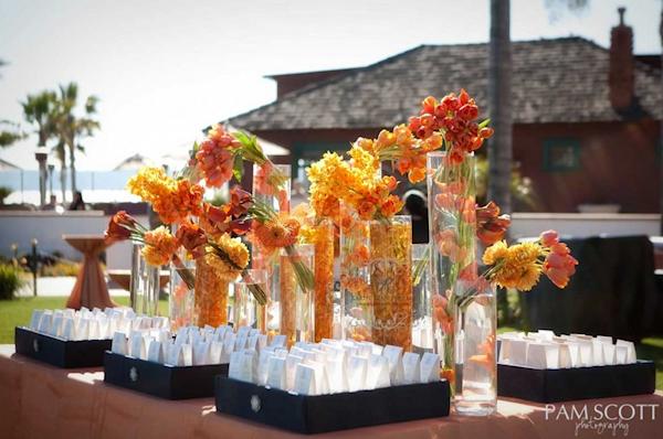 Orange floral centerpieces bitsy bride - Yellow and orange wedding decorations ...