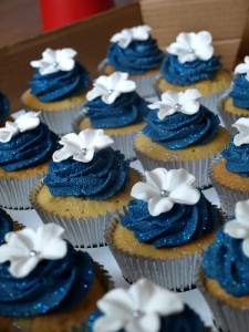 Navy Blue Wedding Cupcakes