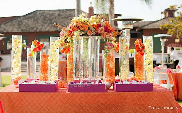 Orange Floral Centerpieces - Bitsy Bride