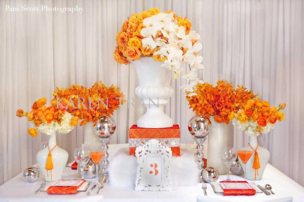 Orange floral centerpieces bitsy bride