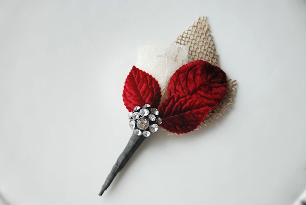 Red Boutonnieres Bitsy Bride