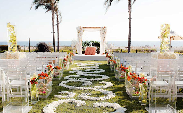 orange white wedding ceremony flowers orange white outdoor wedding ceremony