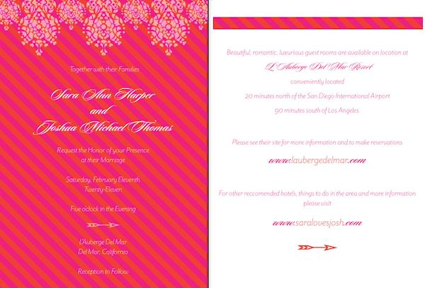 fuchsia navy wedding invitation pink - Pink Wedding Invitations