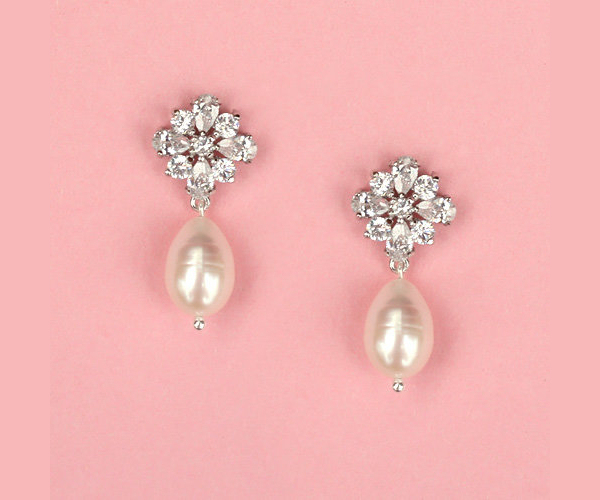 Pearl Rhinestone Bridal Earrings Bitsy Bride