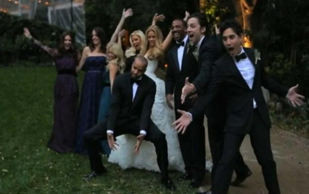 Teaser Video still of Donald Faison and Cobb wedding party