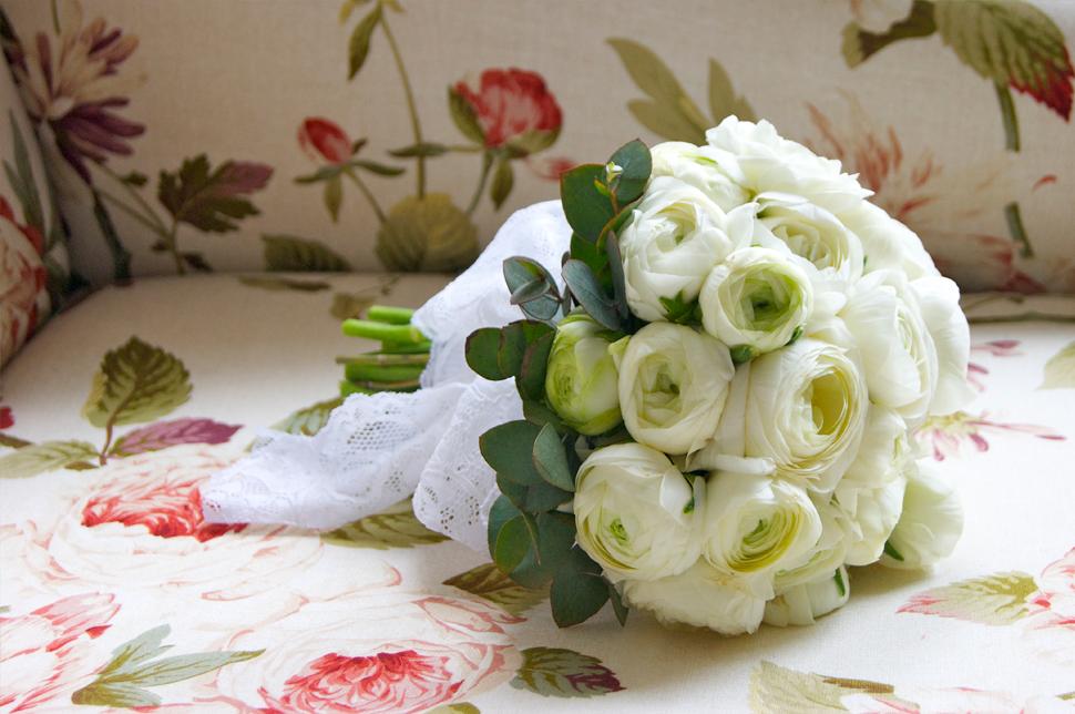 White Ranunculus Wedding Bouquet1